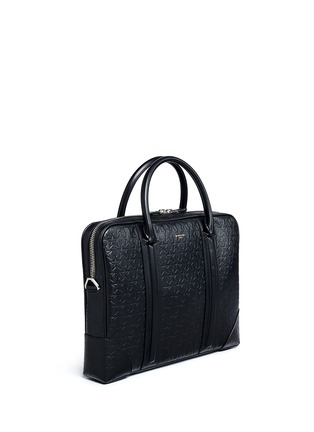 Front View - Click To Enlarge - Givenchy - 'LC' embossed star and trident leather briefcase