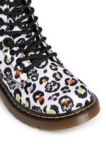 'Delaney' skull leopard print canvas junior boots