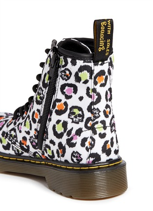 Detail View - Click To Enlarge -  - 'Delaney' skull leopard print canvas junior boots