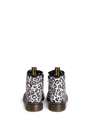 Back View - Click To Enlarge -  - 'Delaney' skull leopard print canvas junior boots