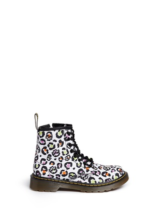 Main View - Click To Enlarge -  - 'Delaney' skull leopard print canvas junior boots