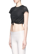 'Haute' perforated mesh cropped T-shirt