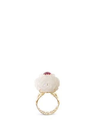 模特儿示范图 - 点击放大 - SHAOO PARIS - 红宝石白玉18K黄金戒指