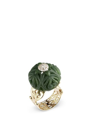 Shaoo Paris - Diamond green jade 18k gold ring