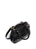 Crocodile leather small crossbody bag