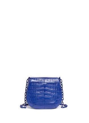 Back View - Click To Enlarge - Nancy Gonzalez - Crocodile leather interchangeable strap round crossbody bag