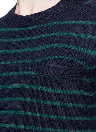 细节 - 点击放大 - SACAI - Stripe wool sweater
