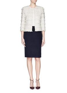 ST. JOHNMetallic eyelash fringe tweed knit jacket