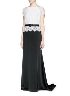 ST. JOHNLace bodice liquid satin gown