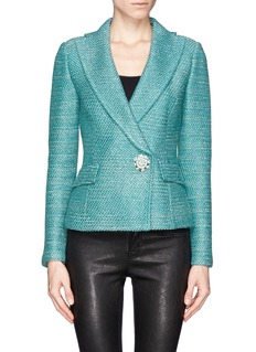 ST. JOHN Float knit wide collar cropped jacket