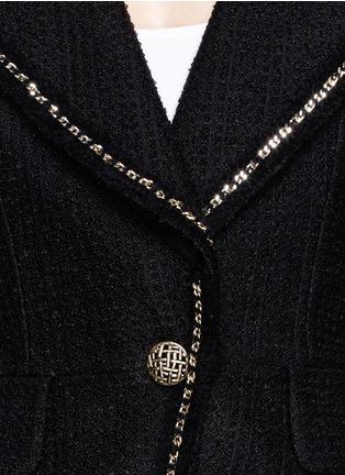 Detail View - Click To Enlarge - ST. JOHN - Chain trim bouclé plaid knit blazer
