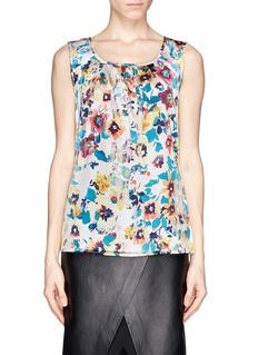 ST. JOHNPleat neck floral print blouse