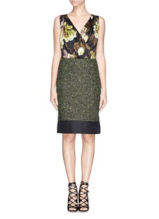 ST. JOHNRose print wrap front lurex dress