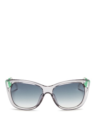 Main View - Click To Enlarge - Dior - 'Chromatic 1' contrast temple cutout corner sunglasses