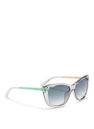 Figure View - Click To Enlarge - Dior - 'Chromatic 1' contrast temple cutout corner sunglasses