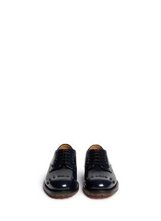 模特儿示范图 - 点击放大 - VALENTINO - 真皮铆钉系带鞋