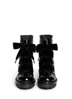 ALEXANDER MCQUEEN Velvet lace-up patent leather boots