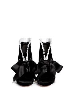 ALEXANDER MCQUEENPleat trim satin bow velvet ankle boots
