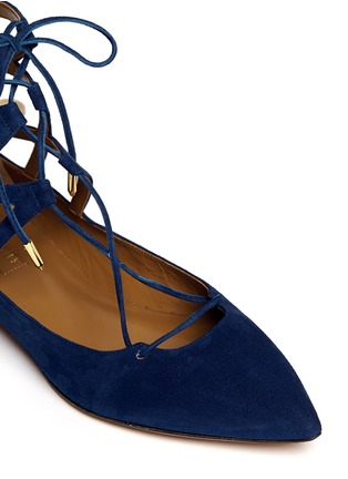 Detail View - Click To Enlarge - Aquazzura - 'Belgravia' suede caged flats