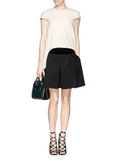 ALEXANDER MCQUEENVelvet waist wool blend flare skirt