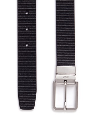 Detail View - Click To Enlarge - Armani Collezioni - Reversible stripe leather belt