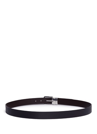 Back View - Click To Enlarge - Armani Collezioni - Reversible stripe leather belt