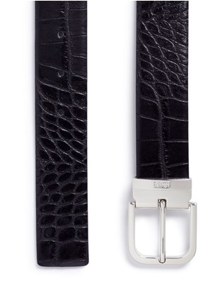 Detail View - Click To Enlarge - Armani Collezioni - Croc embossed leather belt