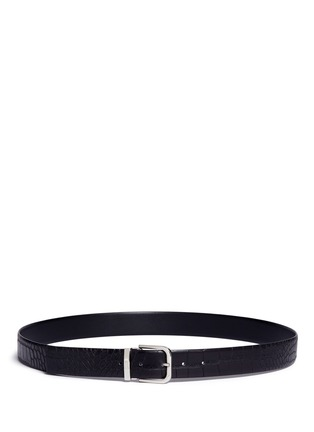 Main View - Click To Enlarge - Armani Collezioni - Croc embossed leather belt