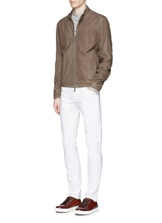 Armani CollezioniLeaf print mandarin collar flax shirt
