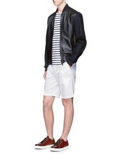 Armani CollezioniDenim sleeve leather blouson jacket