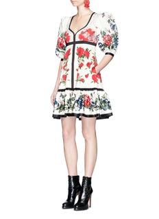 Alexander McQueen Floral tablecloth print cotton peplum dress
