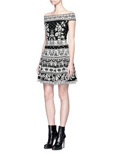 Alexander McQueenFloral jacquard knit flared skirt