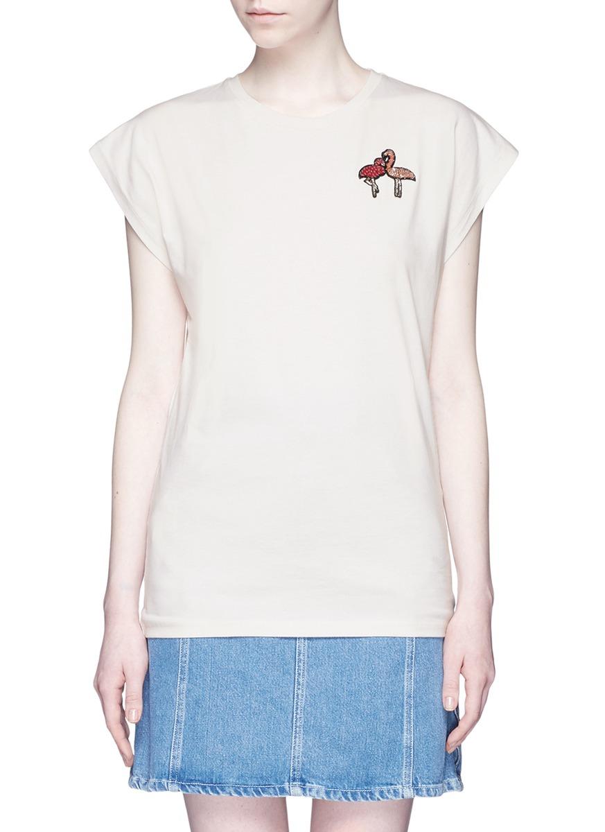 Flamingo sequin appliqué cotton T-shirt by Giamba