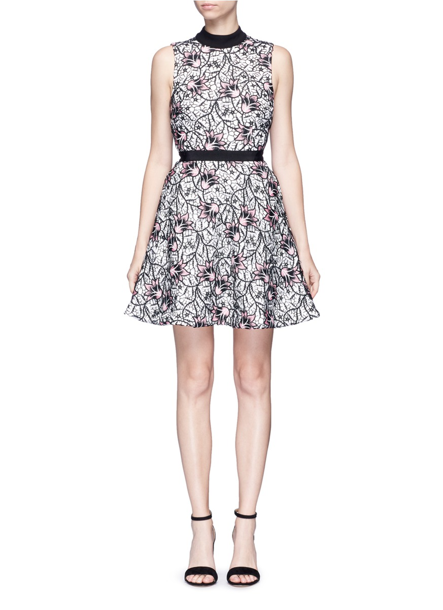 selfportrait female nightshade floral guipure lace flared midi dress