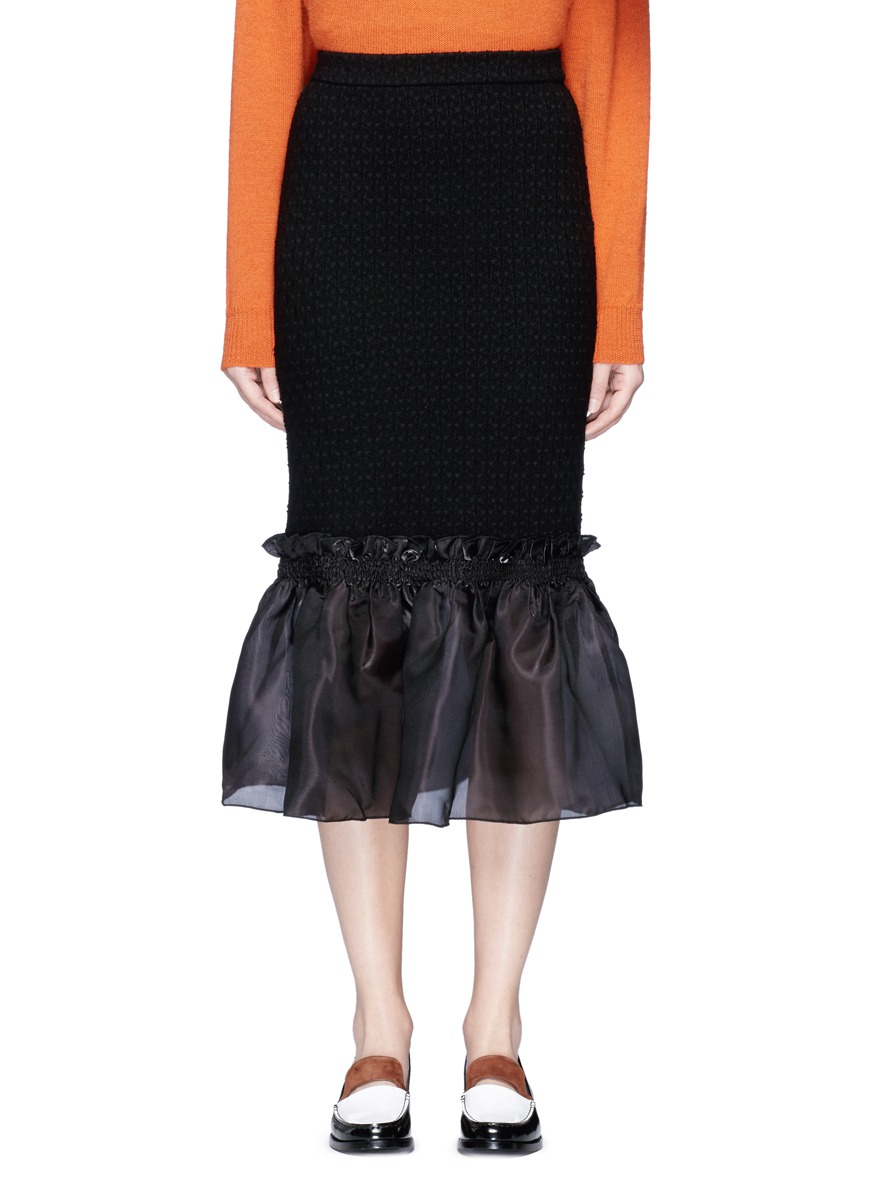 Organdy ruffle floral jacquard midi skirt by Opening Ceremony