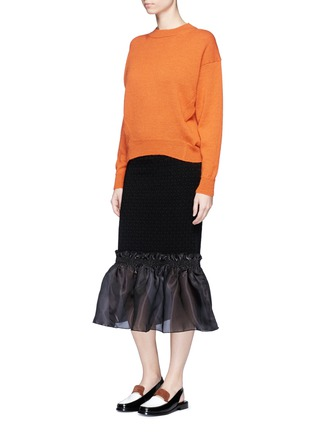 Figure View - Click To Enlarge - Opening Ceremony - Organdy ruffle floral jacquard midi skirt