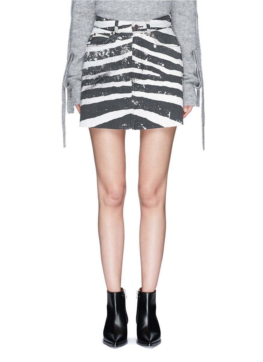 marc jacobs female zebra print stonewashed denim skirt