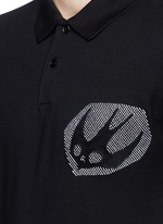 'Swallow' woodcut tribal print polo shirt