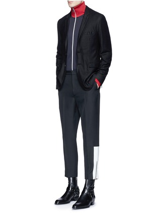 Figure View - Click To Enlarge - McQ Alexander McQueen - 'Doherty' contrast zip cuff wool pants