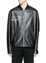 'Haskins' slogan print lambskin leather jacket