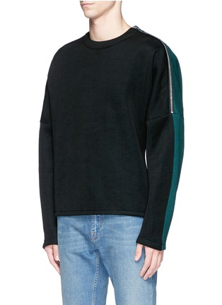 Front View - Click To Enlarge - McQ Alexander McQueen - Zip shoulder cotton blend sweatshirt