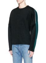 Zip shoulder cotton blend sweatshirt