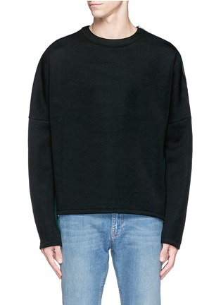 Main View - Click To Enlarge - McQ Alexander McQueen - Zip shoulder cotton blend sweatshirt