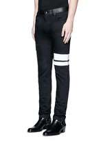 Leather waist painted stripe print strummer jeans