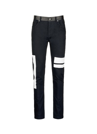 Main View - Click To Enlarge - McQ Alexander McQueen - Leather waist painted stripe print strummer jeans