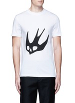 Swallow skull print cotton T-shirt