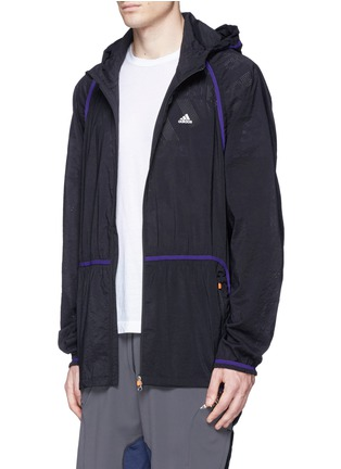 Front View - Click To Enlarge - Adidas X Kolor - Perforated nylon hood jacket