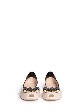 Front View - Click To Enlarge - Melissa - 'Queen IV' peep toe PVC flats