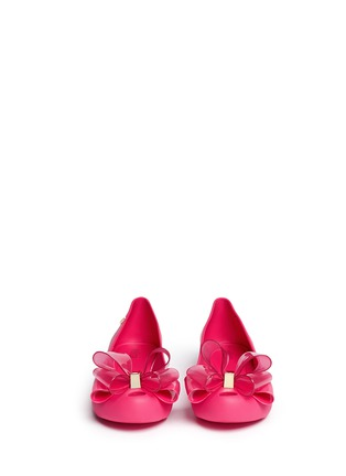 Front View - Click To Enlarge - Melissa - 'Ultragirl Sweet X' bow ballerina flats
