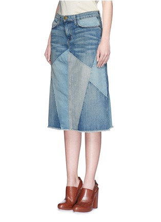 Front View - Click To Enlarge - Current/Elliott - 'The Patchwork Skirt' denim skirt